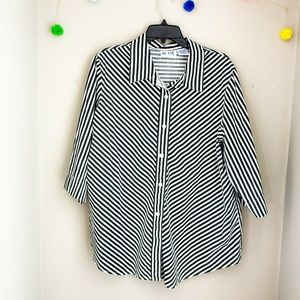 Vintage oversized Diagonal stripe shirt